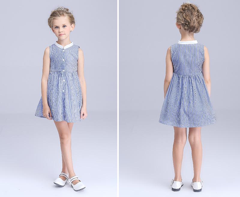 Europe baby clothing girl dresses 4 -10years robe fille enfant dresses Classic stripes summer dress girls clothing kids girls(China (Mainland))