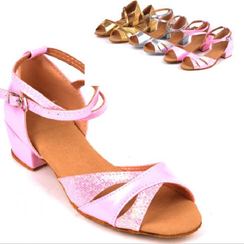 Dancing girls sandals / 2016 latest ankle lace sequins Latin dance sandals, fashion Girls Brand Ballroom Shoe - Children's sports shoes stores store