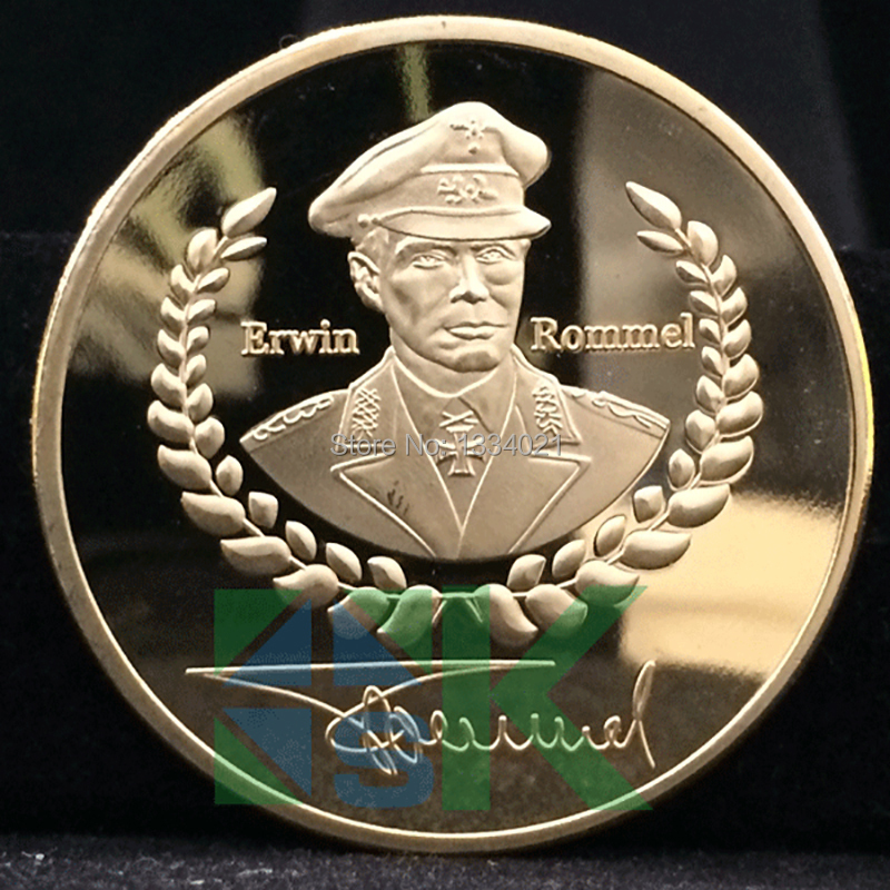 produto 2014 WW2 Gemany commemorative coin Erwin Rommel gold plated coin.Free shipping5pcs/lot