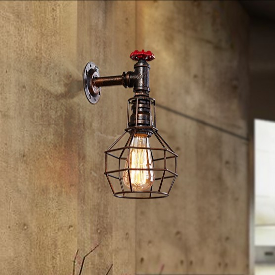 Фотография Loft Style Iron Cage Water Pipe Lamp Edison Wall Sconce Industrial Vintage Wall Light Fixtures For Home Indoor Lighting