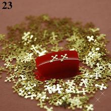 V23 800pcs/iot Cross Shape Slice Golden Metal Nail Art DIY Design Decorations Cellphone Craft Laptop Cover Case Decor(China (Mainland))