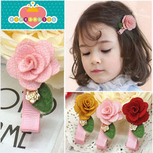 Flower Hairpins Summer Style 5cm Length Rose leaf Hair Clip Baby Hair Accessories Children  Accessories Children Hairclips