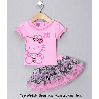 2015 Freeshipping Real Clothing Sets Summer New Children Girl's 2 Pic Hello Kitty Cute Girl Set Baby Dots Skirt Pants Clothes - Bunny bebe store
