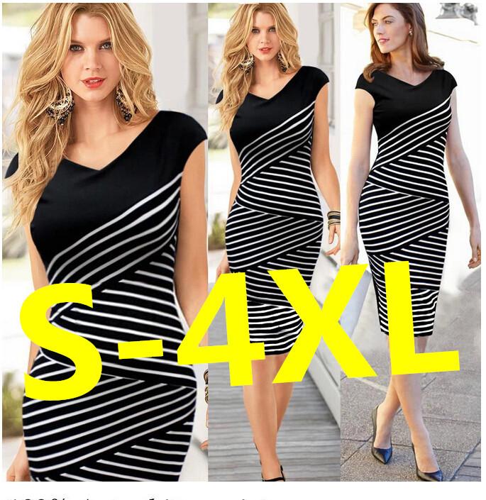 4XL Women Summer Dress 2016 Sexy Hip Stripe Pencil Dress Plus Size Casual Long Dress Party Maxi Dres