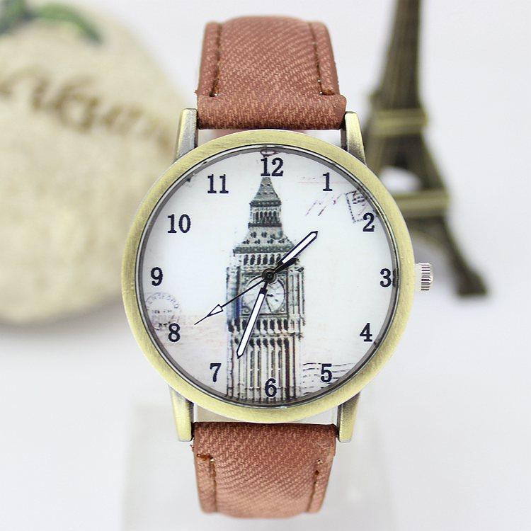 Hot Sale Casual Vintage Watch Women Dress Watch Men High Quality Quartz Wristwatch Big Ben Pattern