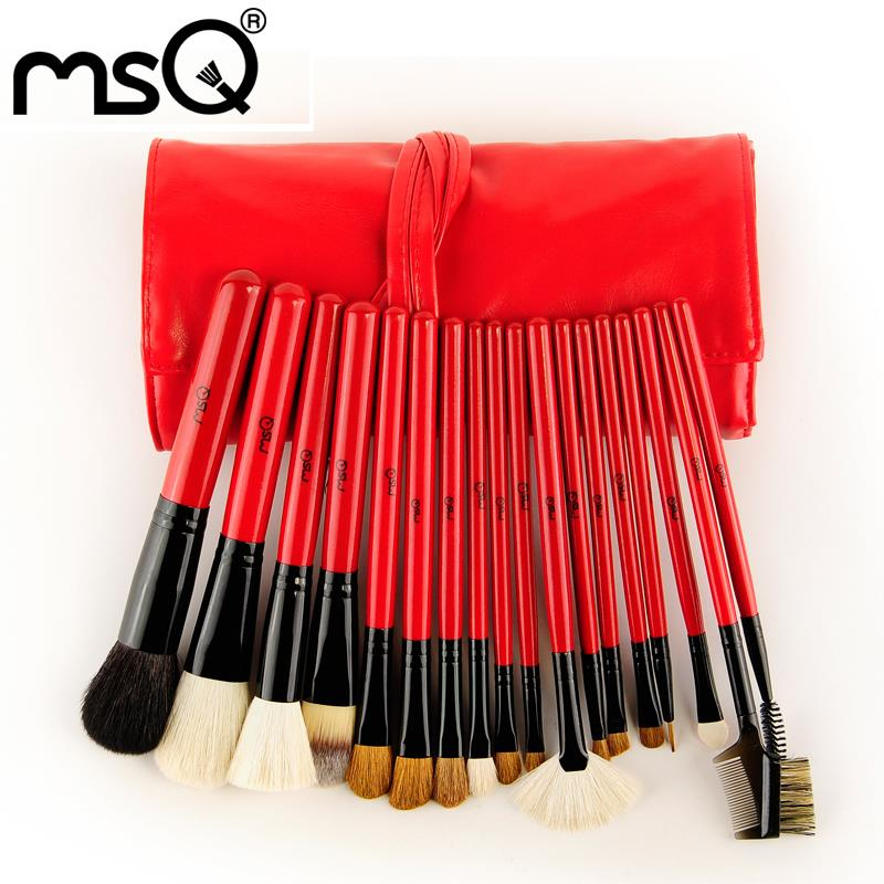 Free Shipping 2015 Hot Professional MSQ Brand 18Pcs Goat Hair Cosmetic Brush Set With PU Case For Wholesale Fashion Beauty<br><br>Aliexpress