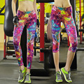 2016 Women Yoga Pants Running tights colorful printed Tights Yoga Sports Fitness Running Trousers Slim Leggings
