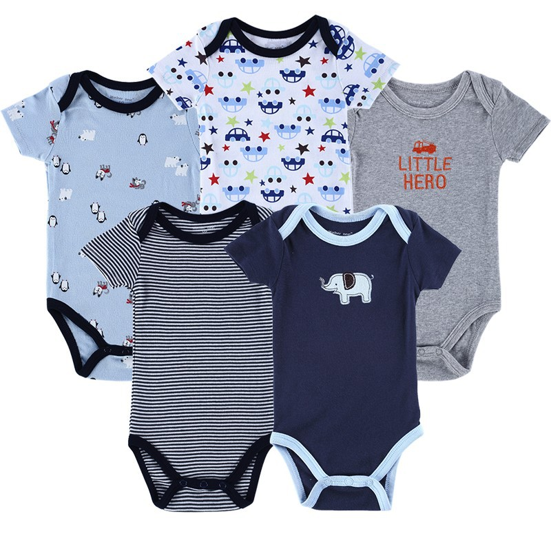 5 Pieceslot Baby Romper Set Short Sleeve Car Trimed Baby Wear Jumpsuits Baby Girl Boy Bebe Clothing Set Body Suits (3)