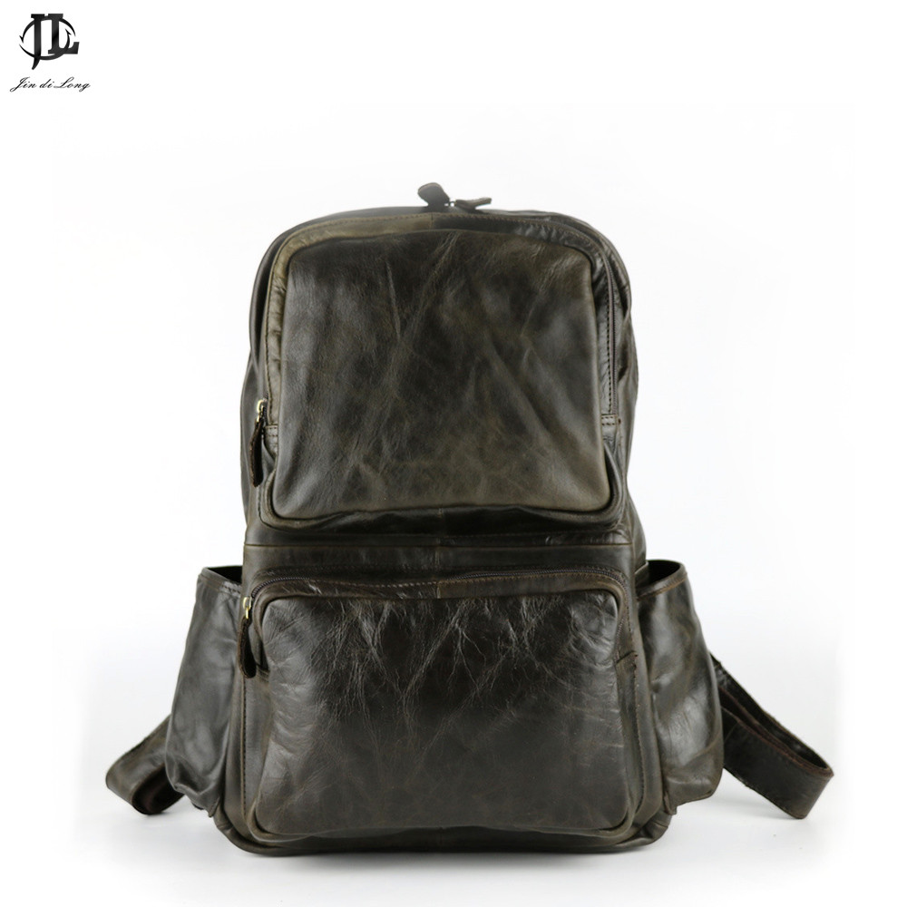 *#Retro Large Capacity Oil Waxed&Crazy Hores Genuine Leather Men's Backpacks Trend Fashion Shoulder Bags Back Packs