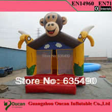 5x4X3.5M  PVC tarpaulin inflatable monkey bouncers with slide for kids and baby(China (Mainland))