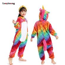 Trẻ em Trẻ Em Stitch Ngôi Sao Kỳ Lân Bộ Đồ Ngủ Mùa Đông Pyjamas Dép Nỉ Có Mũ Trùm Đầu Pijama Bộ Động Vật Đồ Ngủ Cho Bé Gái Quần Ngủ Nam(China)
