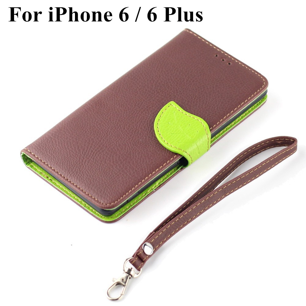 Luxury genuine Leather phone cover hand Chain Flip Wallet Leaf shape Magnetic buckle Stand Case iphone 6/ iPhone6 plus - Jack Convenience Market store