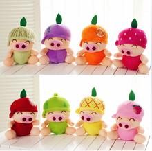 20 pieces a lot whole sale small cute fruit pig toys fruit design pig dolls gift about 18cm