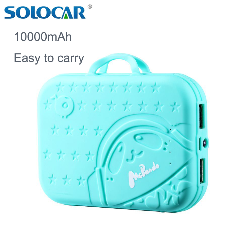 Solocar New Real 10000 mAh Portable Power Charger Power Bank with aLED Light Mobile Phone Power Charging Outdoor Powerbank 2 USB(China (Mainland))