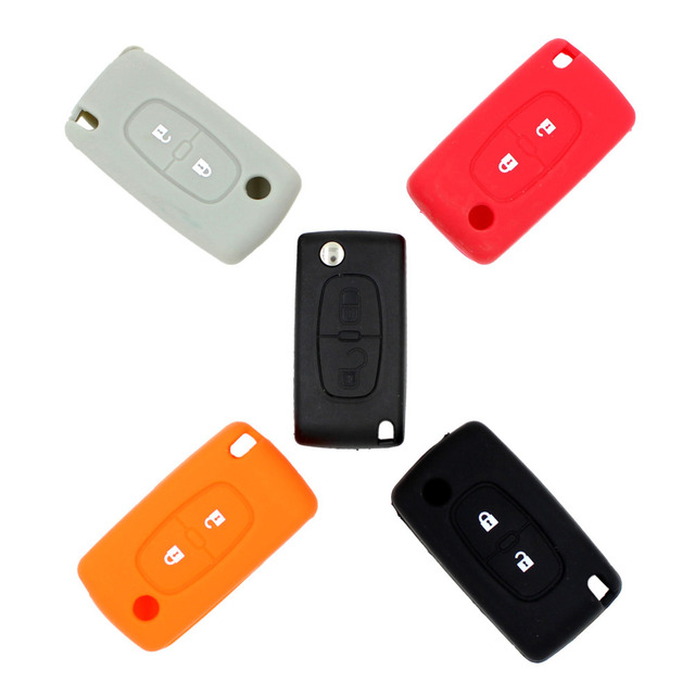2 Button Silicone Remote Key Cover Case Fob For Peugeot 107 207 307 307S 308 407 607 2BT DKT0269