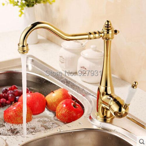 Купить Chrome & Золотой Поворотным Изливом Горячая и Холодная Кухня Раковина Кран На Бортике Одной Ручкой Крана Смесителя Кухни