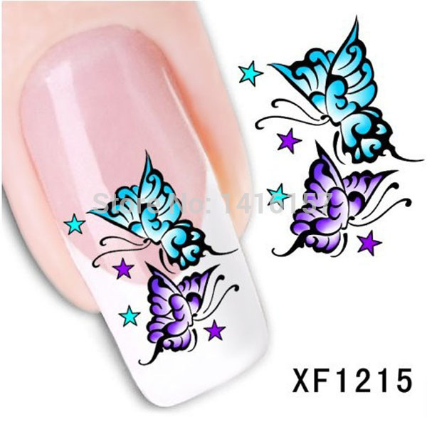 Water Transfer Nail Art Stickers Decal Beauty Purple Blue Butterfly Design French Manicure Tools(China (Mainland))