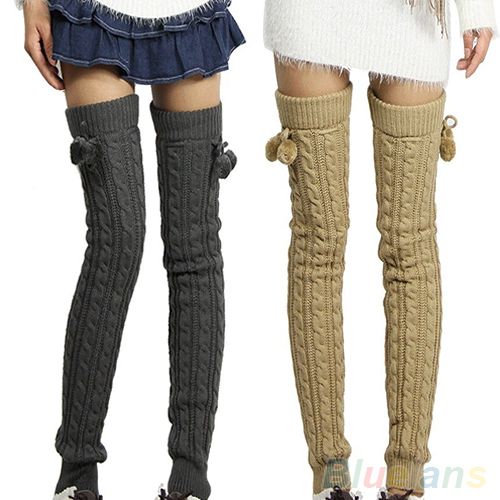Women's Winter Crochet Knitted Stocking Footless Leg Warmers Boot Thigh High Stockings 1RCP