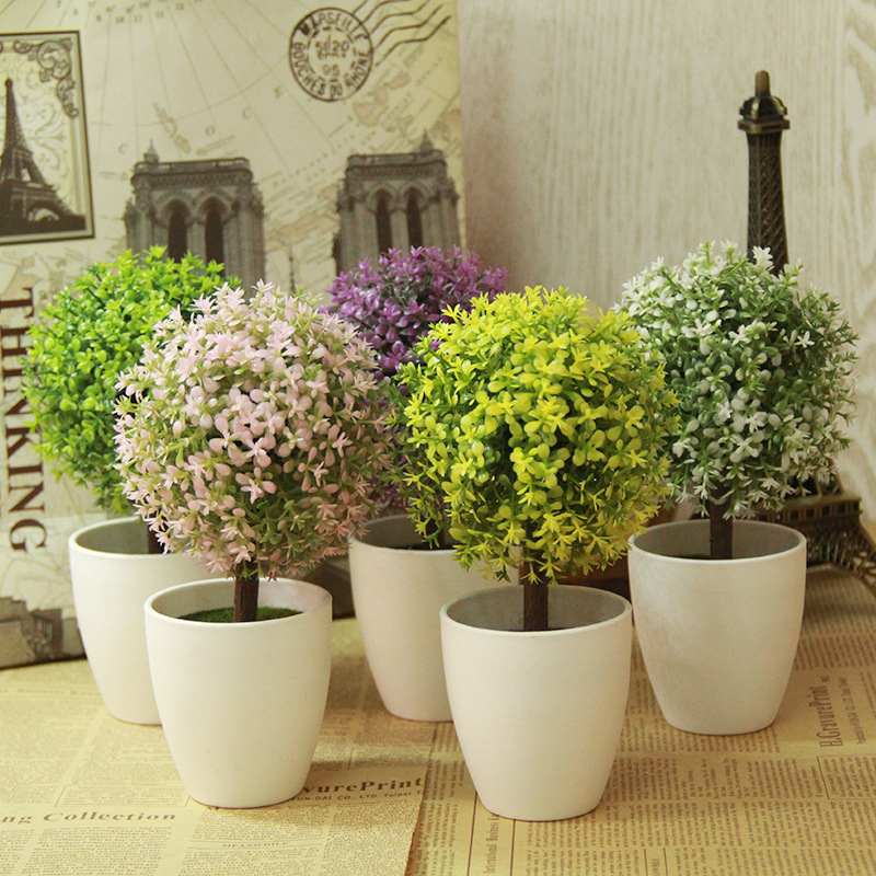 Artificial Topiary Tree Ball Plants In Pot Colorful Fake
