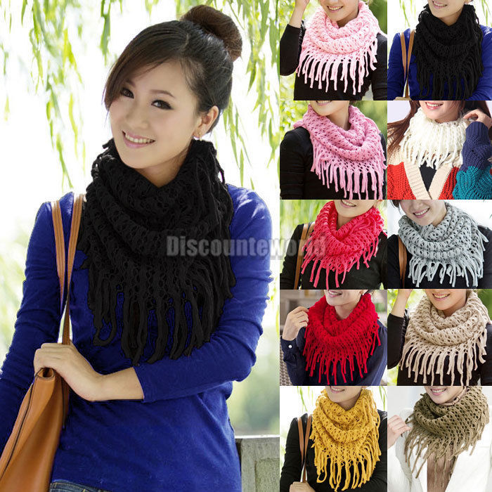 Fashion Women Winter Warm Knit Wool Snood Scarf Cowl Neck Circle Shawl Wrap - Online Store 531010 store