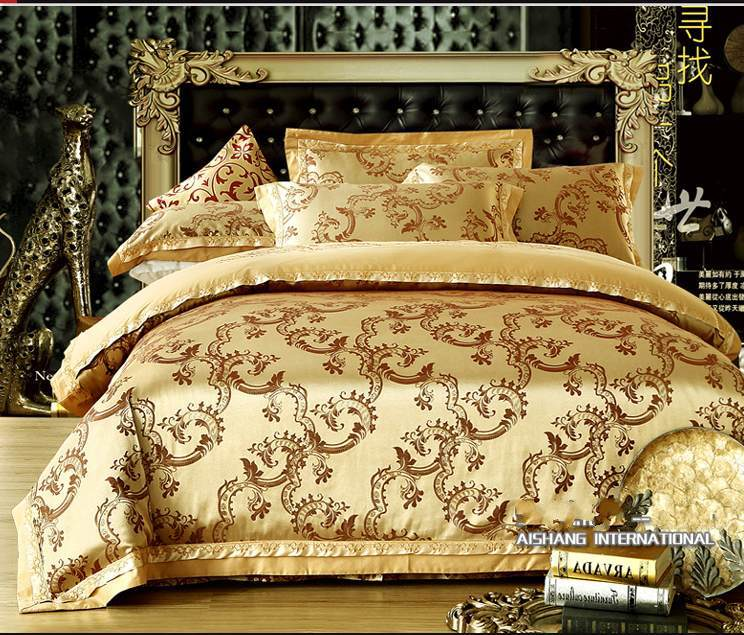 Luxury Jacquard Comforter Bedding Sets 4pcs Gold Duvet Cover King Queen Size Hot Sale Bed Linen