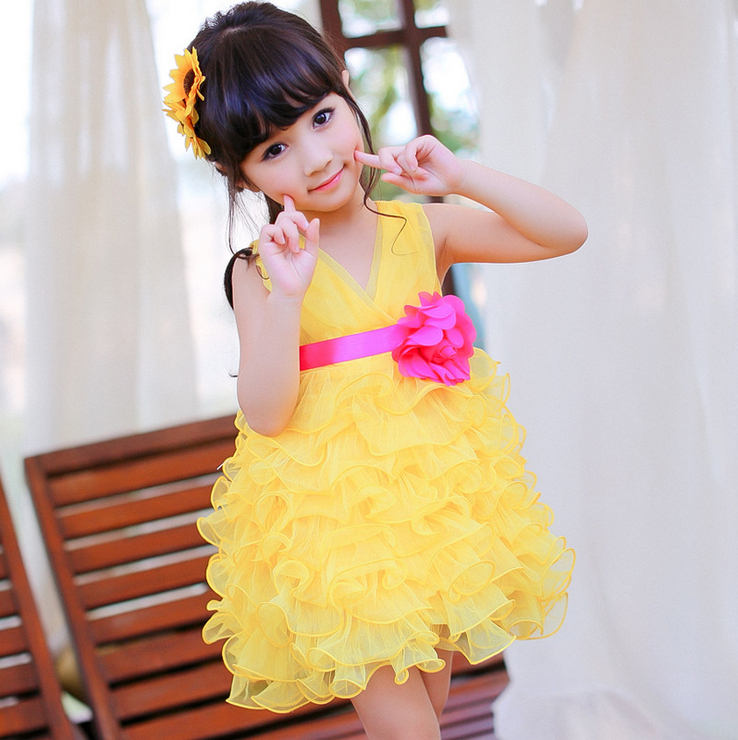 New 2014 Summer Dress Flower Girls Performing V-neck Dress Tutu Temperament princess Bud Dress Free Shipping<br><br>Aliexpress