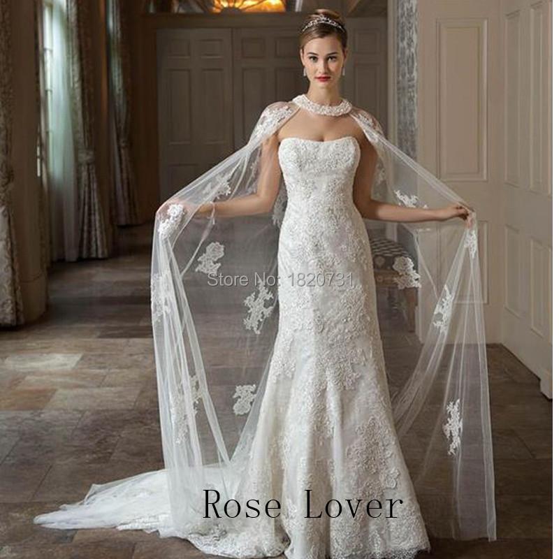 2017 New Arrival Elegant Lace Wedding Bolero Jacket Floor Length Appliques Tulle Bridal Jacket Wedding Shawl Wedding Accessories