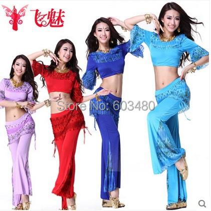 Women's Belly dance practice clothing Color pattern suit Round neck Medium Sleeve top+Waist culottes(Fishtail pants) 2pcs/set(China (Mainland))