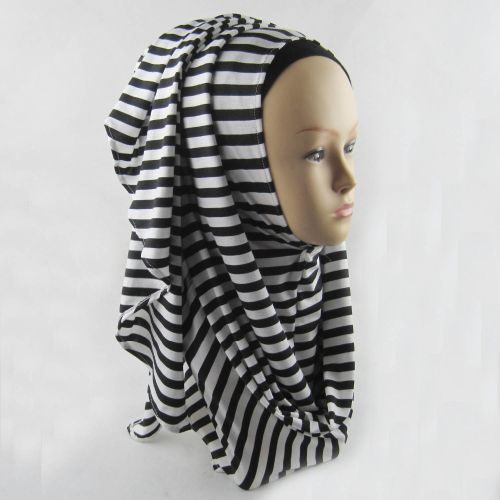 Hot Sale New Fashion Stripe Instant Hijab Shawl Cotton Plain Muslim Jersey Scarf Islamic Scarves Wholesale Free Fast Shipping(China (Mainland))