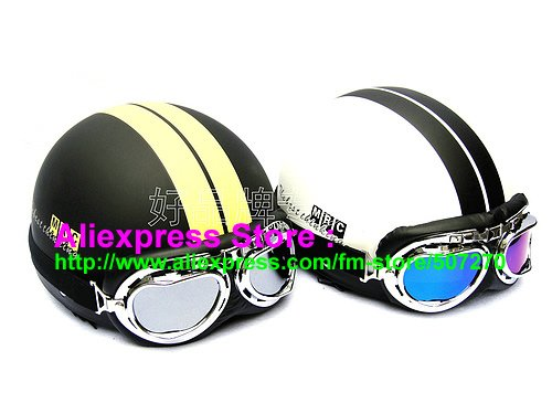 Фотография A.29 - 2 pcs Fashionable Half Bol Vespa Motorbicycle Cycling Half Face Motorcycle Matt Black + Matt White Helmets & UV Goggles