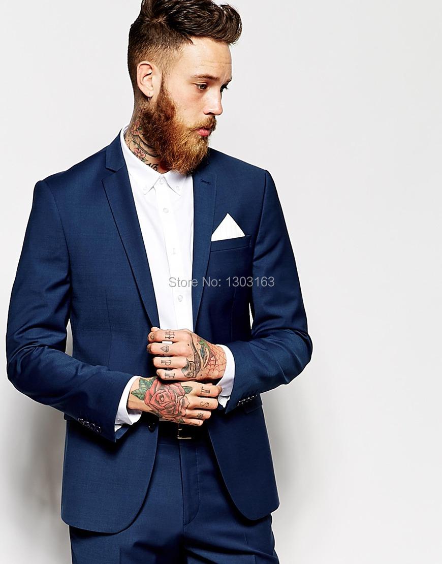 Custom Made Navy Blue Men Suit Tailor Made Suit Bespoke Men Wedding Suit Slim Fit Groom