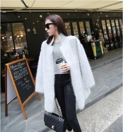 genuine mink cashmere sweater women pure cashmere cardigan knitted mink jacket fashion winter long fur coat free shipping(China (Mainland))