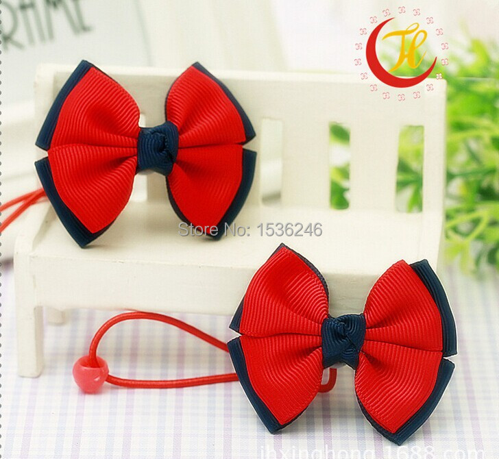2015 hot sales Children's red and blue bowknot hair rope free shipping(China (Mainland))