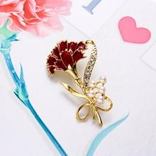 Rinhoo Fashion Carnation Bunga Bros Warna Merah Tanaman Crystal Rhinestone Kerah Hari Ibu Hadiah Perhiasan Bros Pin untuk Wanita(China)