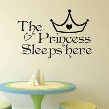 DIY The Princess Sleeps Here Vinyl Wall Stickers For Living Rooms Bedroom Window Decoration Decals Art Wallpapers Home Decor(China (Mainland))