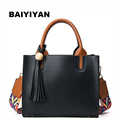 New Fashion colorful shoulder strap PU Leather shoulder bag casual solid tassel women Tote bag