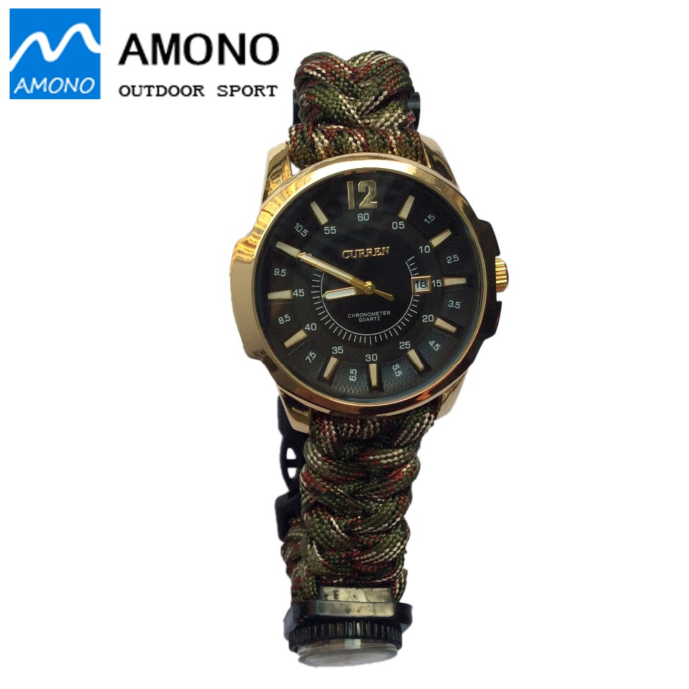 Waterproof Multifunction Outdoor Camping Travel Kit Watch With Survival Flint Fire Starter Paracord Compass Rescue Whistle Rope(China (Mainland))