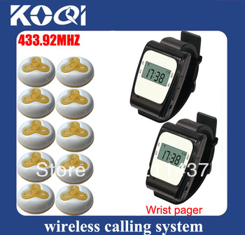 433.92mhz restaurant equipment china cafe shop alarm waiter consist of watch receiver and restaurant calling button DHL free