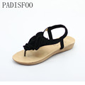 POADISFOO 2017 Bohemia Style Elegant summer flat heel with Lady sandals female flower sandals For Women