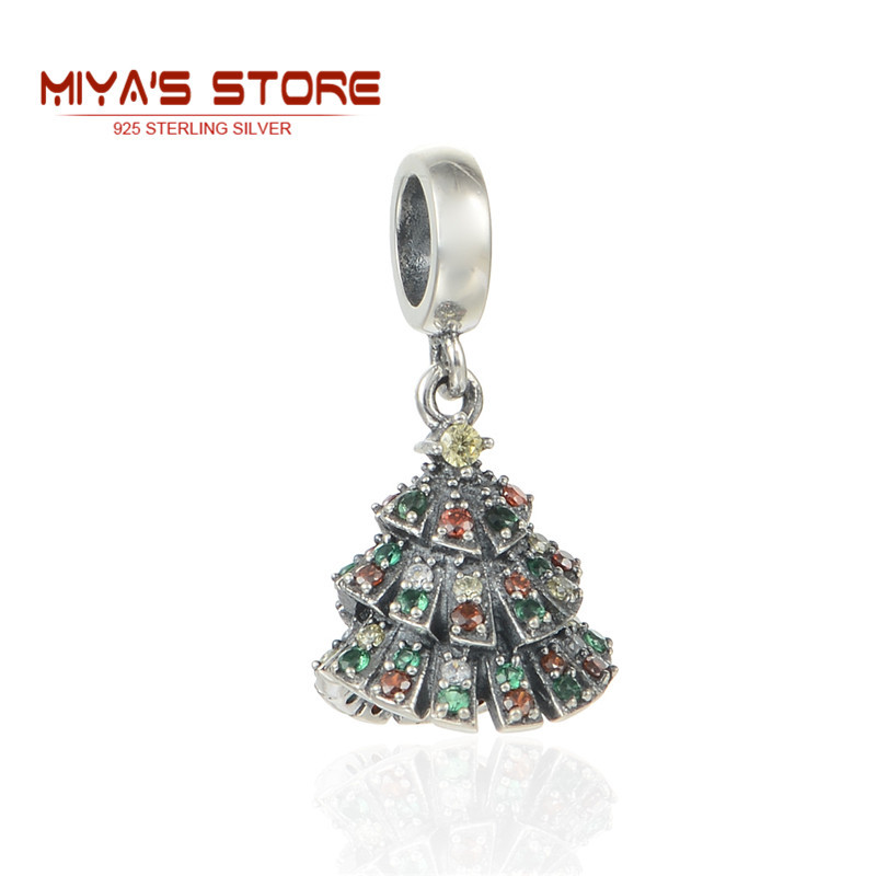 Hot Sale Christmas Tree Charms European  Colorful Zircon European Charm Bracelet  Jewelry Making 925 Sterling Silver Charms S212<br><br>Aliexpress