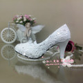 white wedding shoes lace rhinestone bridal female high heels platform shoes flower pearl shoes women pumps
