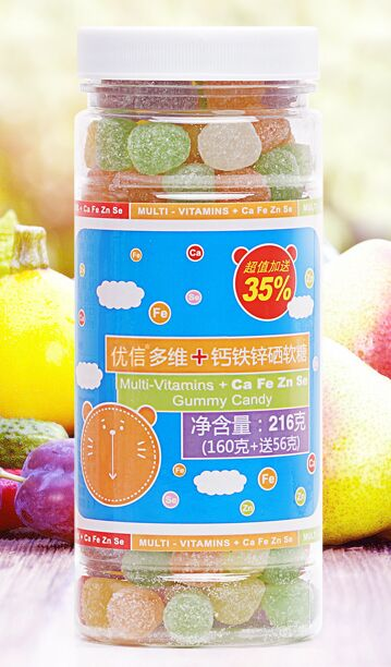 Chinese Leisure Nutritious Candy,Fruit Juice Multi-Vitamins+Ca,Fe,Zn,Se Gummy Candy,216g/can,Best for Kids,Health food(China (Mainland))