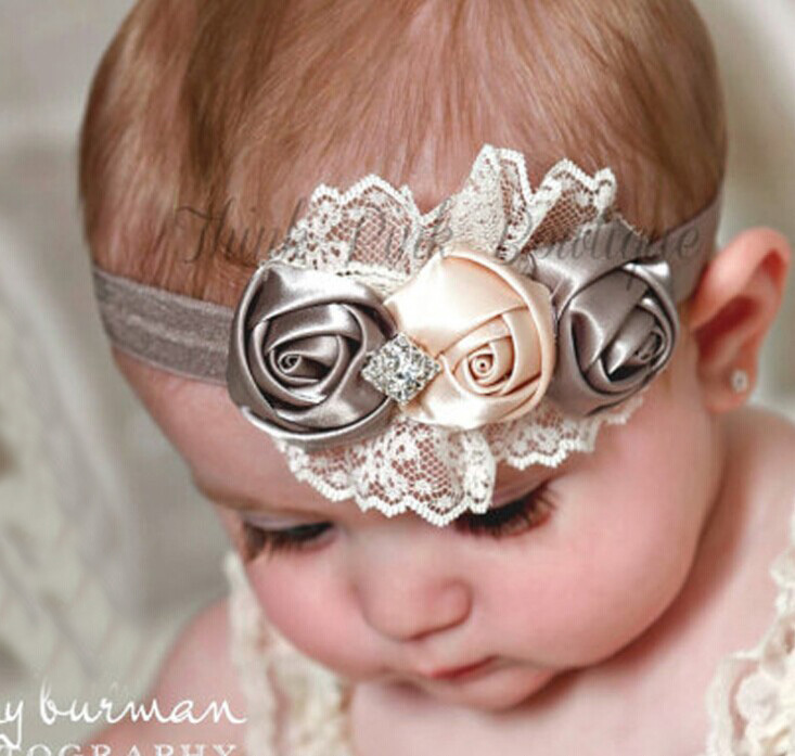 2014 baby girls years 0-3 elastic hair band rose crystal accessories mix style - Warmly Family store