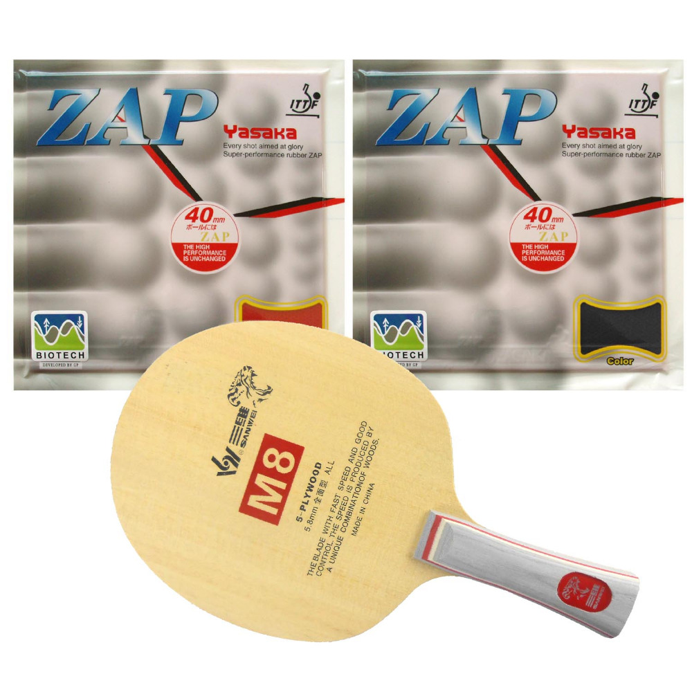 Free Shipping, Sanwei M8 Table Tennis Blade With 2x Yasaka ZAP 40mm (BIOTECH) Rubber With Sponge (H36-38) for a Ping Pong Racket<br><br>Aliexpress