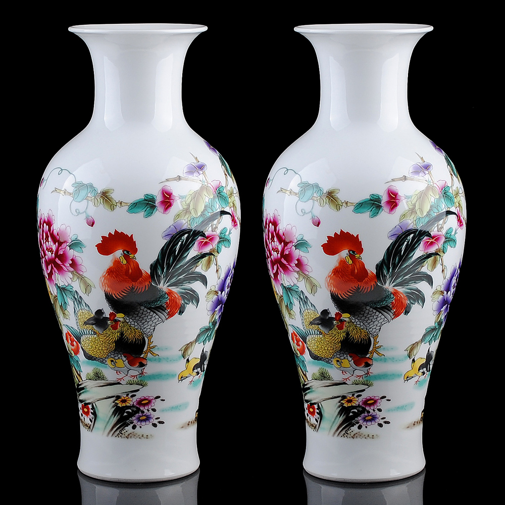 Jingdezhen ceramics pastel Rooster family portrait vase fishtail modern home decoration decoration crafts