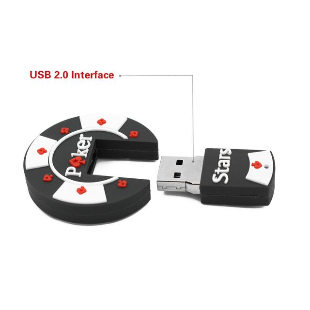Rubber Poker Stars USB flash pen drive