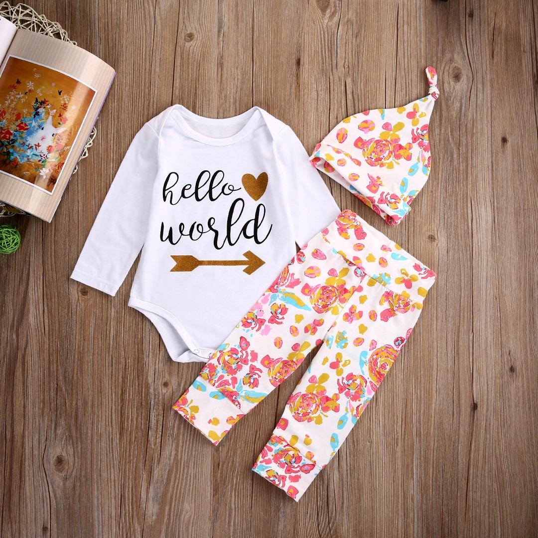 Newborn Baby Girls Clothes Cotton Romper Pants Headband Hat 3pcs Outfits Set