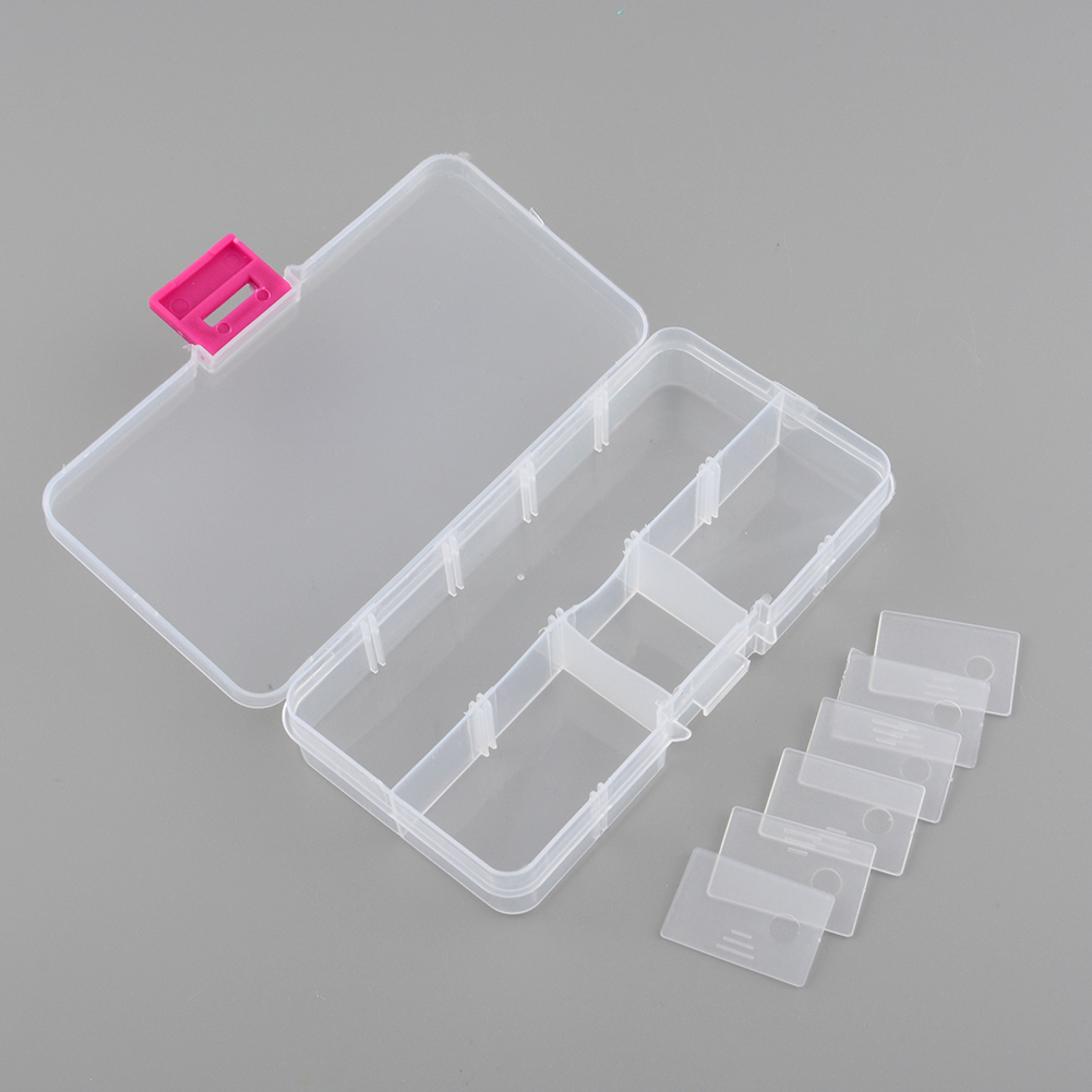 New Plastic 10 Slots Compartment Jewelry Necklace Storage Box Case Holder Craft Organizer Container Hot(China (Mainland))
