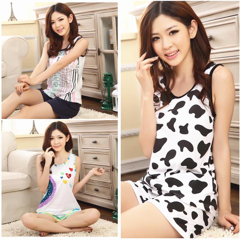 Summer women's vest shorts 100% cotton sleepwear sleeveless spaghetti strap modal lounge set plus size - Annadai's online store