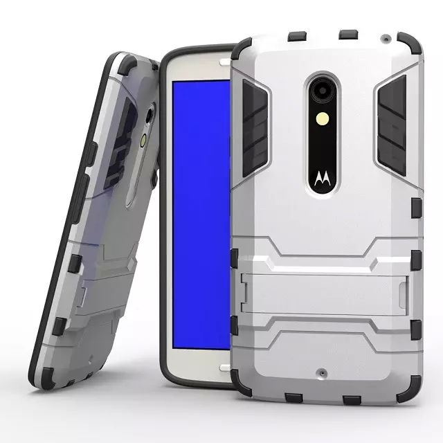Heavy Duty Rugged Iron Man For Motorola Moto X Play Hybrid Armor Phone Cases For Moto X Play With Stand Holder Back Covers(China (Mainland))